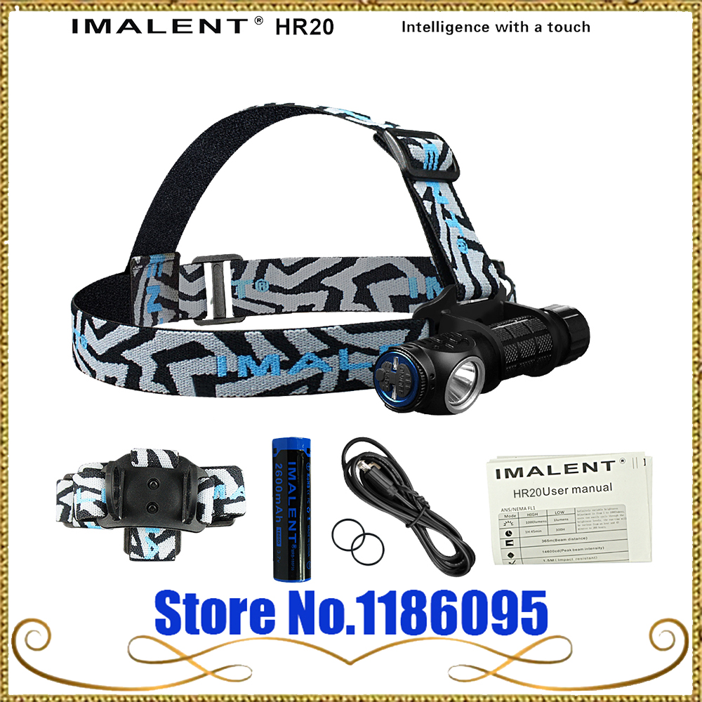 IMALENT HR20 Cree XP-L HI Flashlight Touch 1000lm Led Headlamp USB Charging Tactical Headlight by 18650 Battery Self Defense