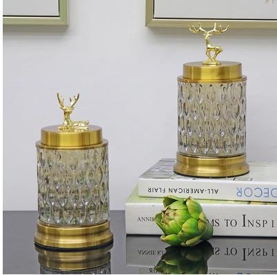 Beau cristal verre artisanat, cerf de noël, pots de bonbons, pots de stockage, décorations de salon