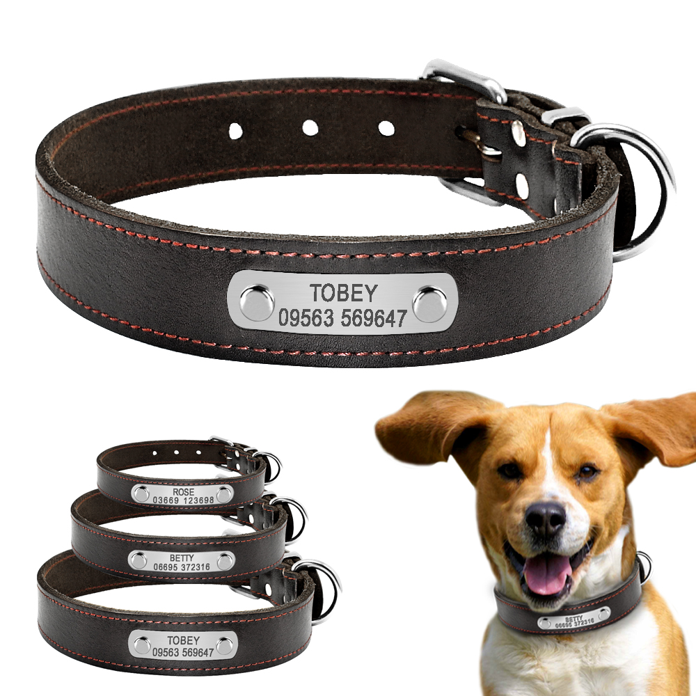 be491e55bc2e Genuine Leather Personalized Dog Collar Collars Custom Free Engraveing Name  Plate Pet ID Collars For Small Medium Large Dogs