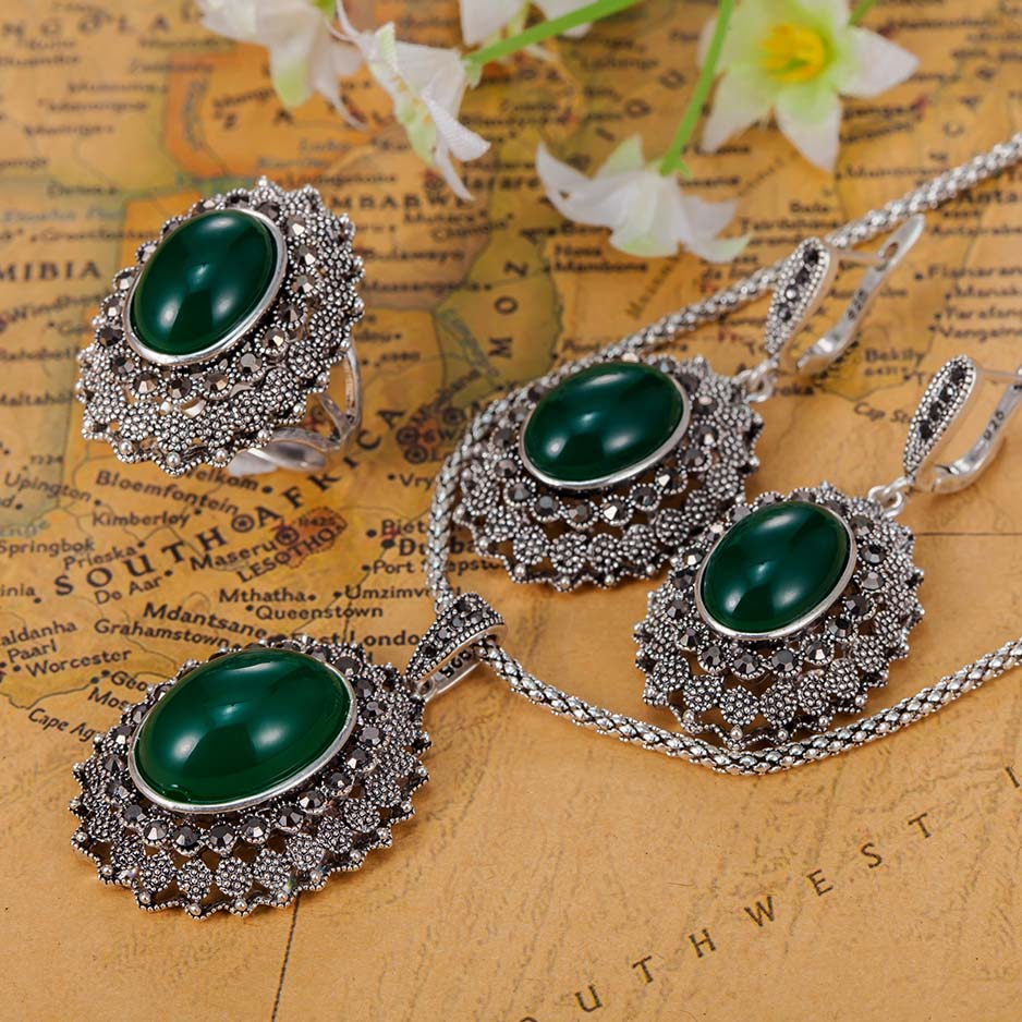 Blucome Perfecto Vintage Jewelry Sets Noble Bridal Accessories Brand Turkish Jewelry sets Women Neclace Ring Aneis sets blucome vintage water drop green crystal jewelry sets for women party accessories turkish bronze color bangle ring earrings set
