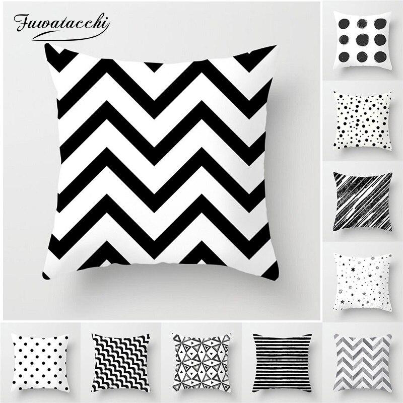 Fuwatacchi Simple géométrique coussin couvre blanc et noir rayure Wove taie d'oreiller pour la maison canapé chaise taies d'oreiller décoratives