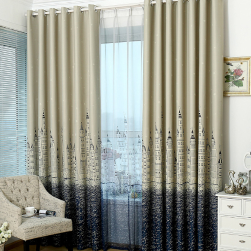 ( Single Panel ) Window treatment Curtains Mediterranean Bedroom Balcony Castle City European Style Blackout Custom Curtains