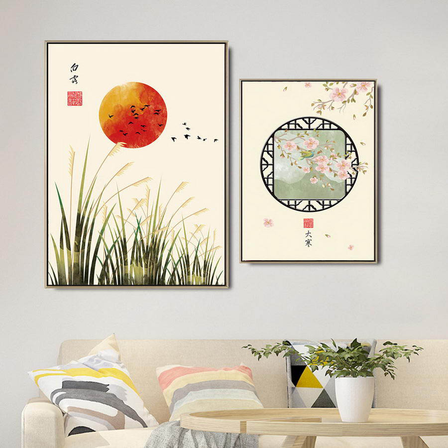 Home Decoration Print Canvas Wall Art Picture Poster Paintings Chinese Style 24 solar terms in lunar calendar in Painting Calligraphy from Home Garden