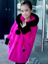 HOT Fashion new Girls fur coats,100% real rabbit fur coats Child Trench rex rabbit fur jacket coat fur overcoats CFAL421