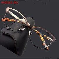 แมวตาแฟชั่นโลหะแว่นตากรอบผู้หญิงO Ptical Retroล้างคอมพิว