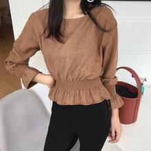 Vintage Camisa Feminina 2018 Autumn Fashion New O-Neck Short Hem Pleated Elastic Force Pullover Flare Sleeve Women's Clothing недорого