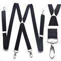 4 clipes gancho suspensórios para os homens dos homens de cor preta 2.5 cm calças com suspensórios ajustáveis cinza das mulheres 2.5*100 cm