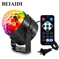 BEIAIDI Mini RGB Magic Crystal Ball Strobe Lamp Sound Activated Party Disco DJ Stage Light With