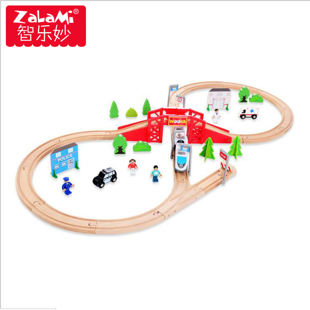 High Quality 8 Shape Wooden 50PCS City Series Orbital Set For Children Kids Electric Train Puzzle Education Toys Birthday Gift