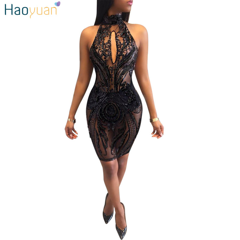 HAOYUAN Sequin black mesh bodycon dress 2018 Summer robe halter backless sexy dress club wear high quality party dresses vestido