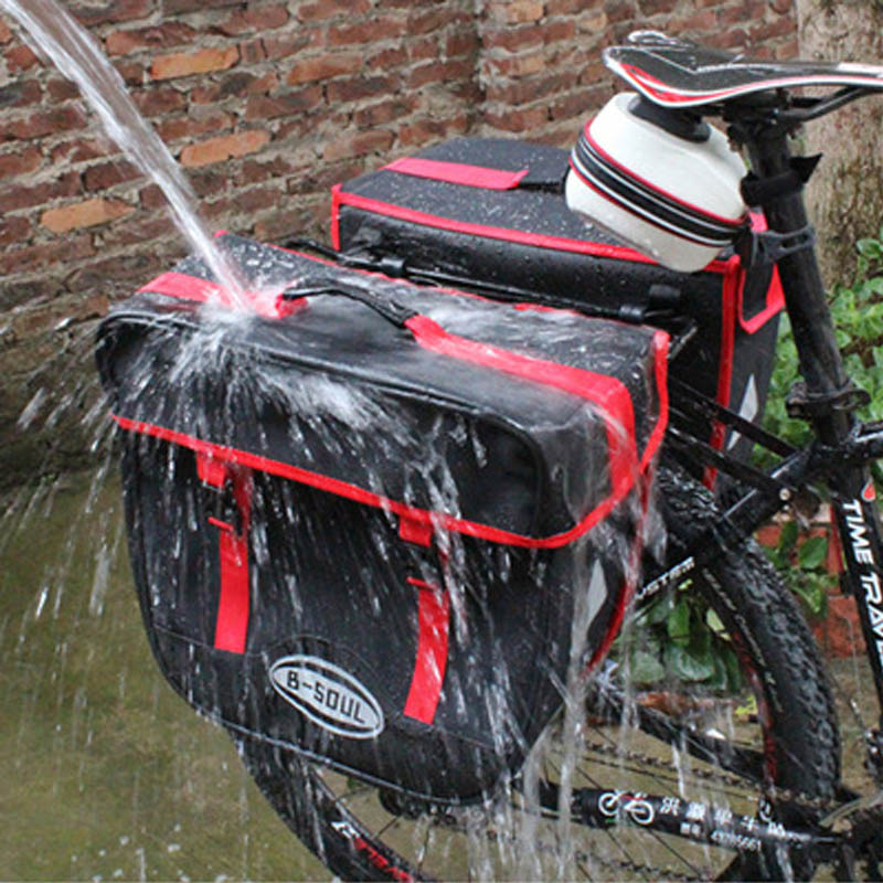 B-SOUL New Bicycle Rear Seat Trunk Bag Waterproof Big Huge Capacity 25L/pcs Bike Saddle Panniers for Cycling Touring Commuter
