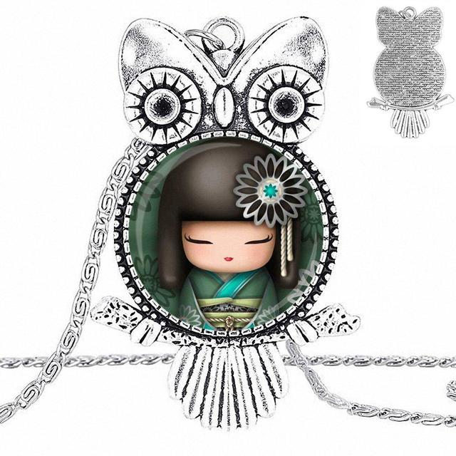 EJ Glaze Bronze Color Glass Cabochon With Owl Shaped Pendant Choker Necklace For Girls Handmade Gift Cute Japanese Kokeshi Doll 2