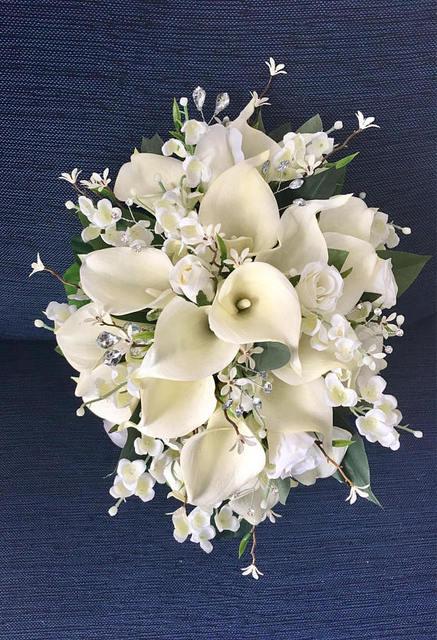 Bridal Bouquet Calla Lily Cascading Wedding Accessory Silk Flowers