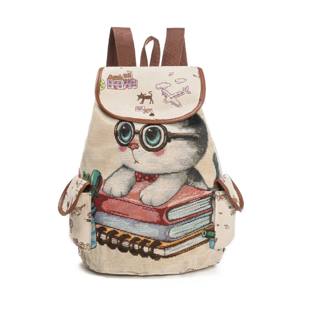 Fashion Women Canvas Cute Cat Printed Shoulder Bag Ladies Casual Travel Backpack Teenager Girls School Bags Big Capacity Popular new woman shoulder bags cute canvas women big bags literature and art cartoon girls small fresh bags casual tote