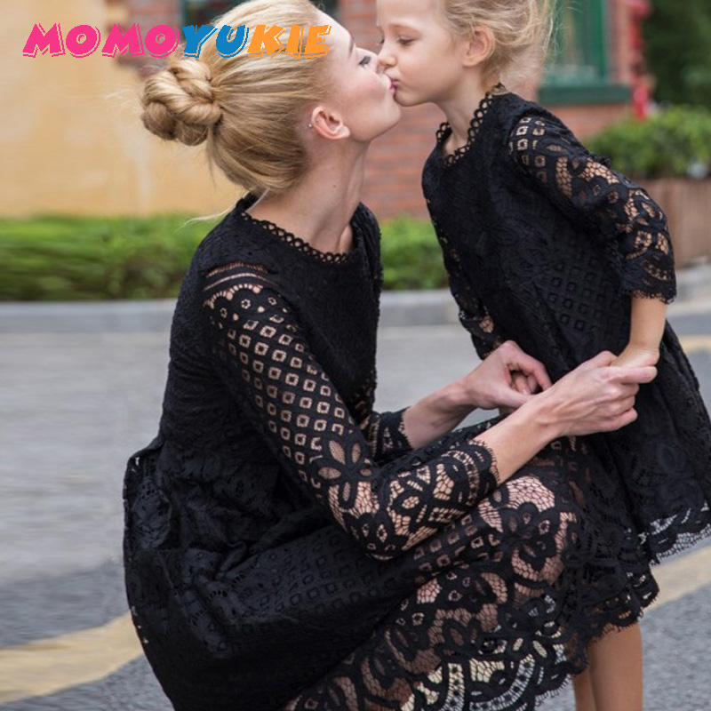 Mother Daughter Dresses Wedding 2018 Spring Mommy And Me Clothes Mom And Daughter Lace Princess Dress Family Wedding Dresss
