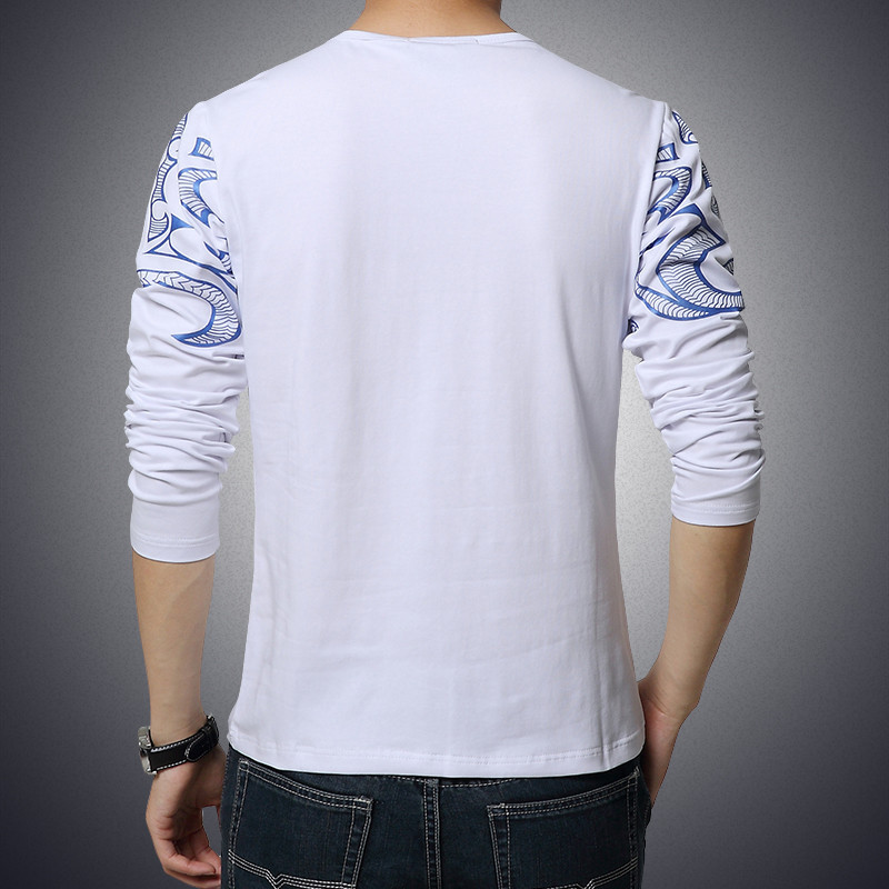 2017 Autumn new high-end men's brand t-shirt fashion Slim Dragon printing atmosphere t shirt Plus size long-sleeved t shirt men 6