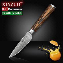 XINZUO 3.5″ inches fruit knife Damascus kitchen knives sharp paring kitchen knife parer utility knife wood handle FREE SHIPPING