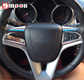 2PCS For CHEVROLET Cruze sedan hatchback 2009-2014 TRAX ABS chrome trim accessories steering wheel cover sticker