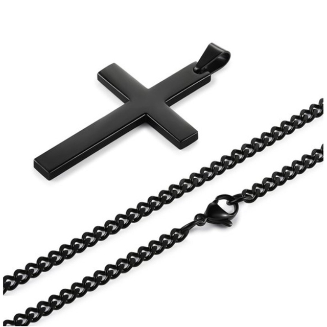 Christian Jesus Single Titanium Cross Necklace Stainless Steel Gold Silver Black Prayer Choker Cross Pendants Men Jewelry
