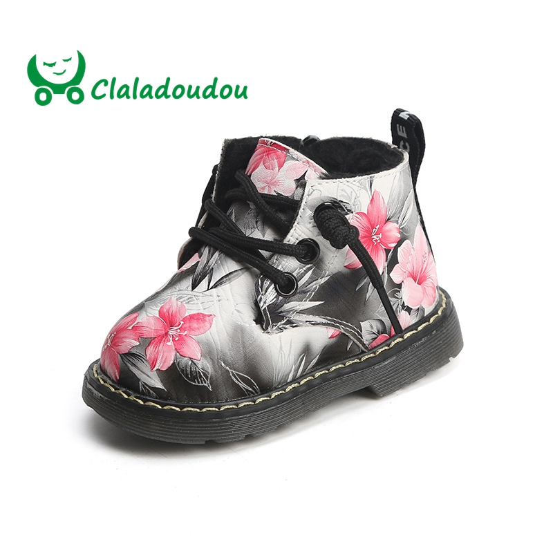 Claladoudou 12-15.5 cm Bébé Chaussures Mode En Cuir Véritable Noir Garçons Bébé Chaussons Peach Rouge Filles En Bas Âge Hiver Neige bottes 0-2Y