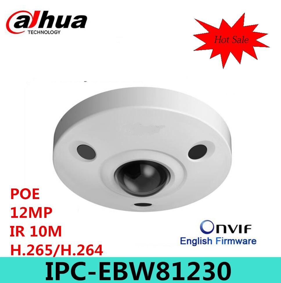 Dahua 12MP IP Panoramic Fisheye Camera IPC-EBW81230 H.265 support POE IR10m waterproof IP67 mini camera Micro SD memory IK10 монитор состава тела omron bf214 hbf 214 ebw