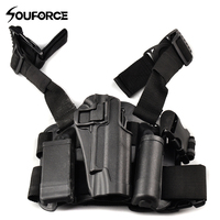 Black Tactical Holster Right Hand Airsoft Pistol Pouch Drop Leg Holster Set for Colt M1911 Series