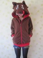 New Japan Fashion Coffee Wolf Zip Sweatshirt Women Animal Hoodies with ears Sport Hoody Animal Cosplay Sweatshirt for girl