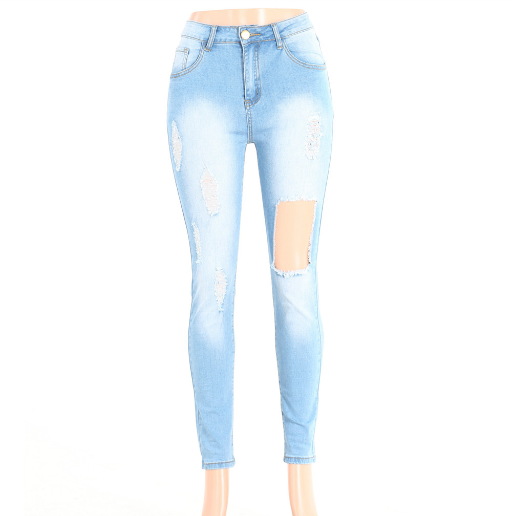 Popular High Waist Asymmetric Nail Beads Ripped Jeans Women Plus Size Pencil Pants Calca Jeans Feminina 2749 Jeans