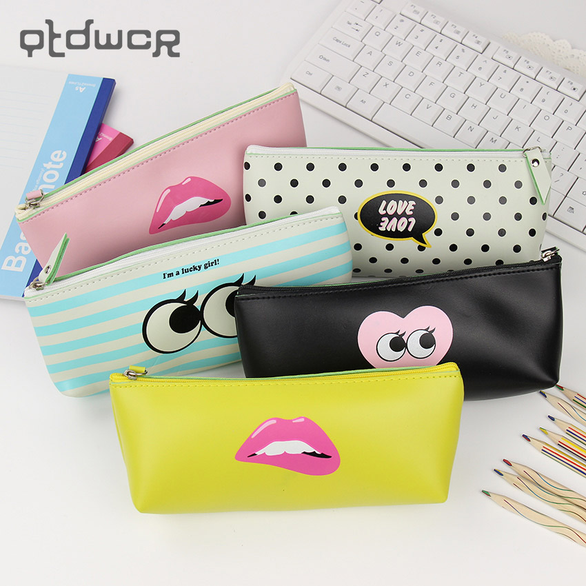 1 PC Fashion Modern Girl Pencil Case for Girls Cute PU Leather Waterproof Stationery Pouch Storage Bags Office School Supplies Пенал