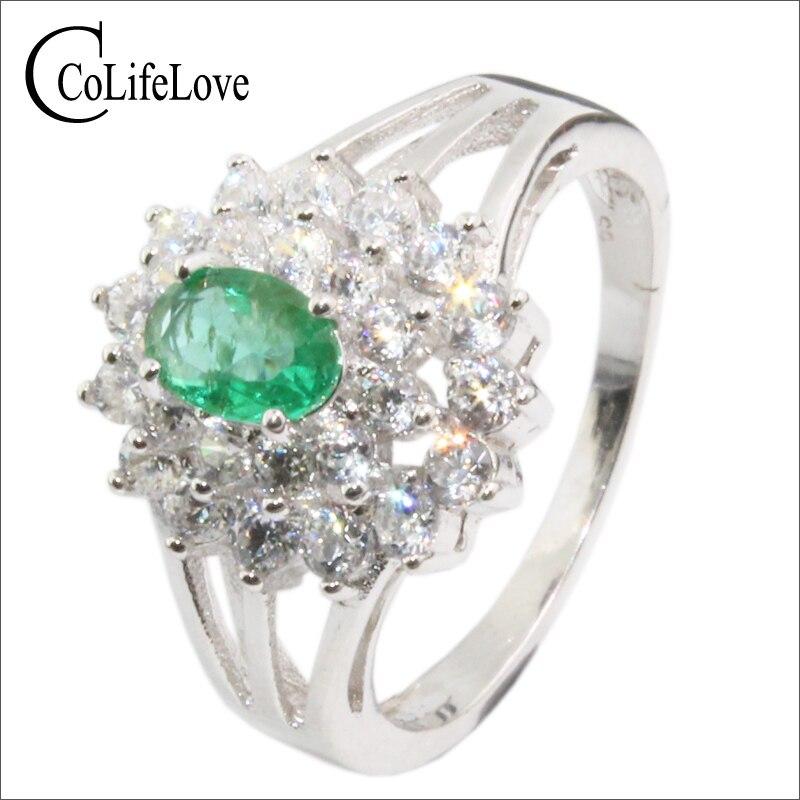 100% Echte Smaragd Edelstein Silber Ring 4mm * 6mm Si Grade Smaragd Edlen Schmuck Sterling Silber Smaragd Ehering Für Dame Zu Den Ersten äHnlichen Produkten ZäHlen
