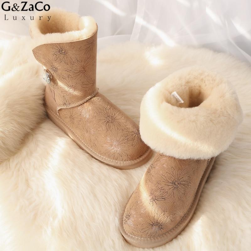G&Zaco Luxury Winter Australia Sheepskin Snow Boots Natural Wool Sheep Fur Boots Mid Calf Crystal Button Flat Women Fur Boots