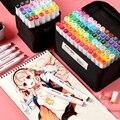 30/40/60/80 cor caneta marcador mão-desenhada animação design estudante iniciantes retro colorido lápis arte suprimentos