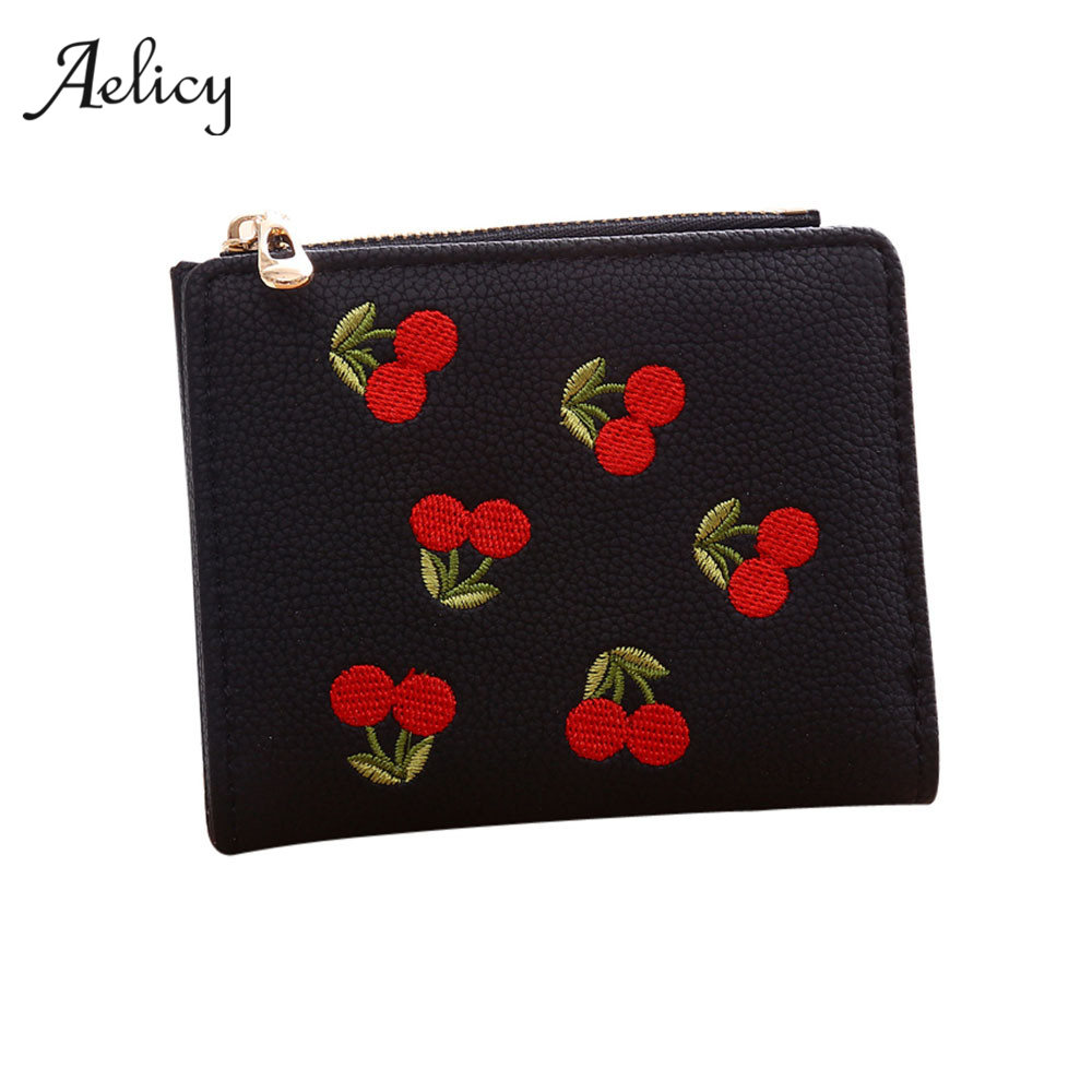 Aelicy PU Leather Women Embroidery Wallets Female Fashion Zipper Small Wallet Women Short Coin Purse Floral Mini Wallets 0914