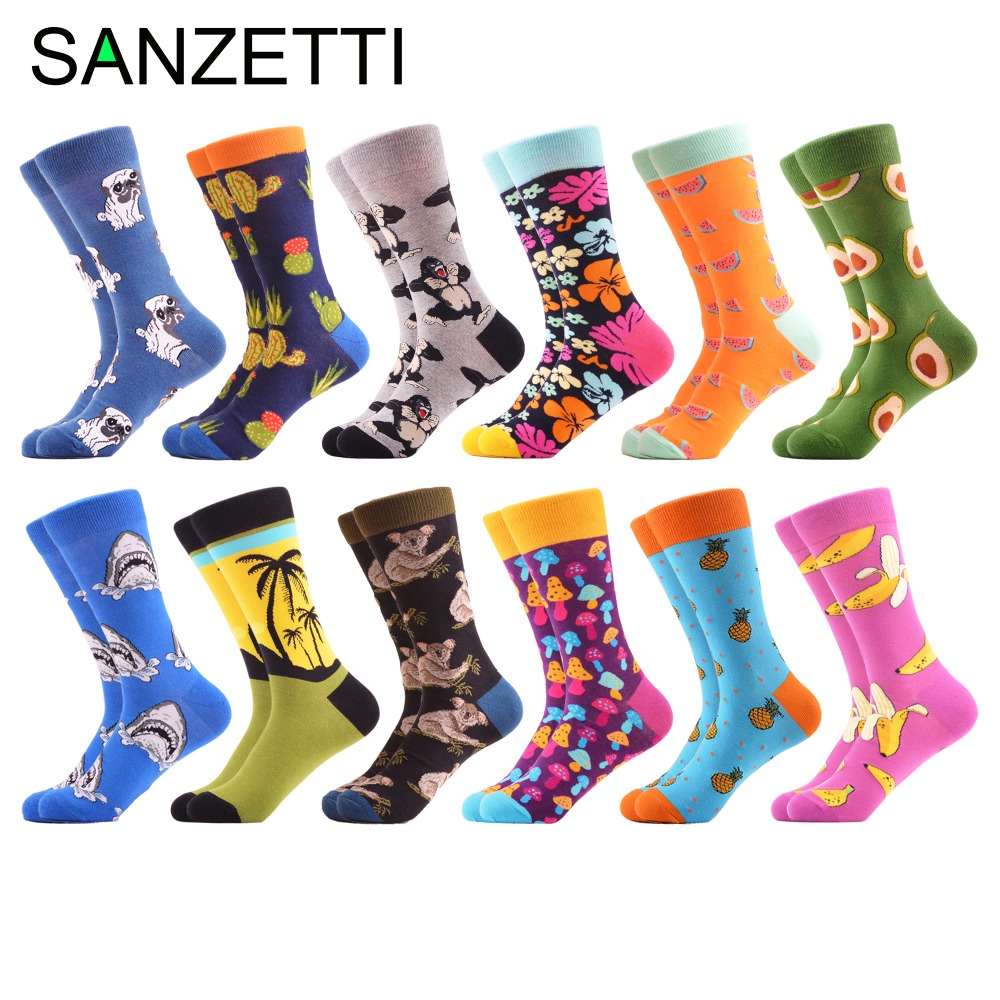 Men's Socks Sanzetti 12 Pair/lot Mens Funny Combed Cotton Skateboard Socks Novelty Animal Fruit Pattern Breathable Casual Crew Dress Socks