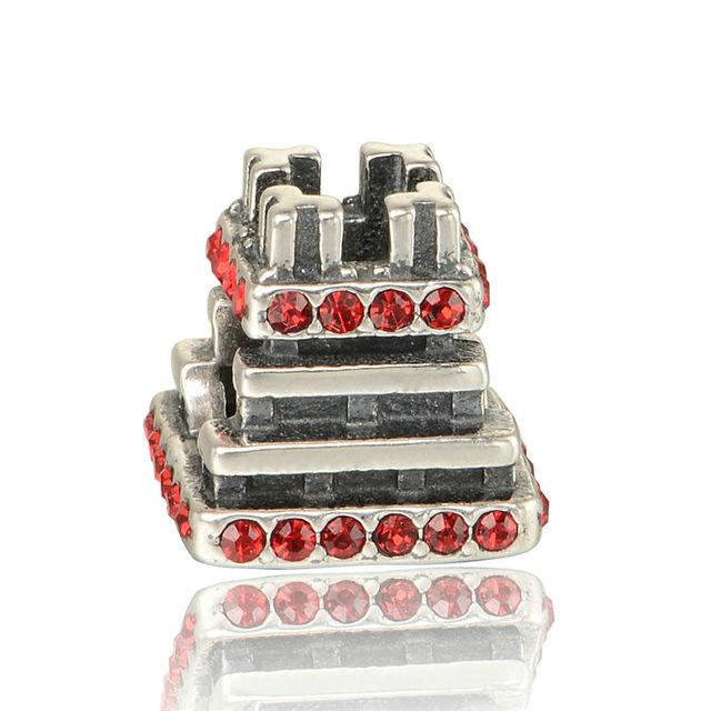 Cristal Vermelho Pedra de Construção Casa Encantos para Fazer Jóias Moda DIY 925 Sterling Silver Jewelry Fit Pulseiras Pan