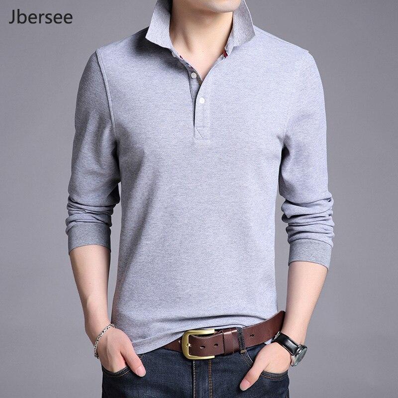 Jbersee Polo Shirt Hommes Plus Taille 3XL Printemps Automne Marque Hommes Polo Shirt En Coton À Manches Longues T-shirt Décontracté Mâle hommes Polo Homme