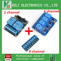 O envio gratuito de 3 pçs/lote 2 canais kit de controle do relé módulos de relé painel PLC 5 V & 4 canal relé 8 canal