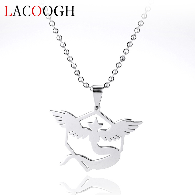 Lacoogh New Trendy Pokemon Go Elf Baby Pendants Necklace Silver Color Long Link Chain Necklaces for Women Female Fashion Jewelry