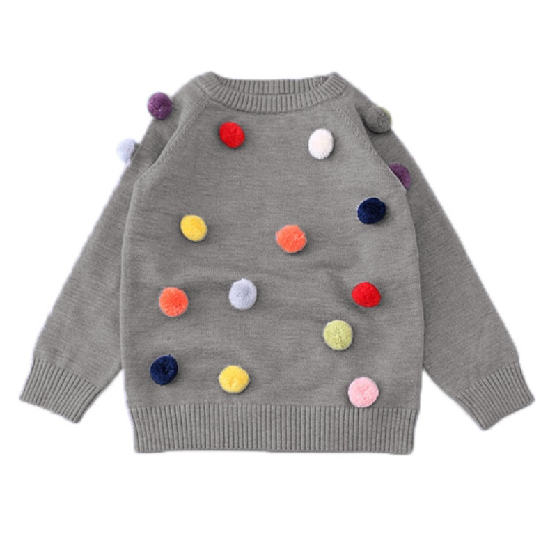 Autumn kids sweater colored balls baby knitted cardigans fashion toddler dot O-neck Sweaters