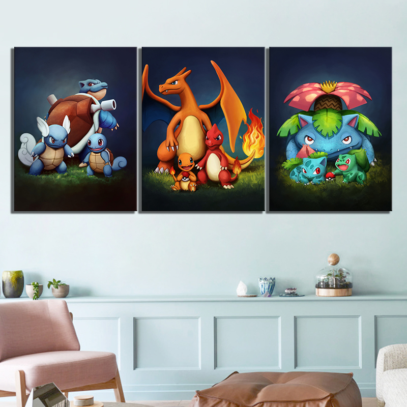 3 Piece Pokemon Pocket Monster Anime Poster Blastoise Charmander Bulbasaur Cartoon Wall Picture for Children Room Wall Decor 1