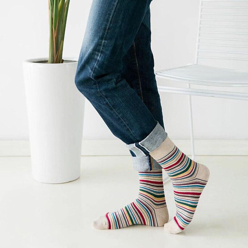Autumn Winter Mens Socks Classic Striped Business Dress Socks Pre-design England Style Deodorant Cotton Socks Crew Big Size