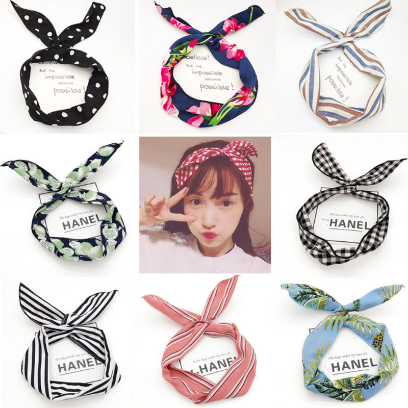 Fashion DIY princess Rabbit Hair band Women Girls flower headband hair Accessories For Women Head band Headwear scrunchie Turban