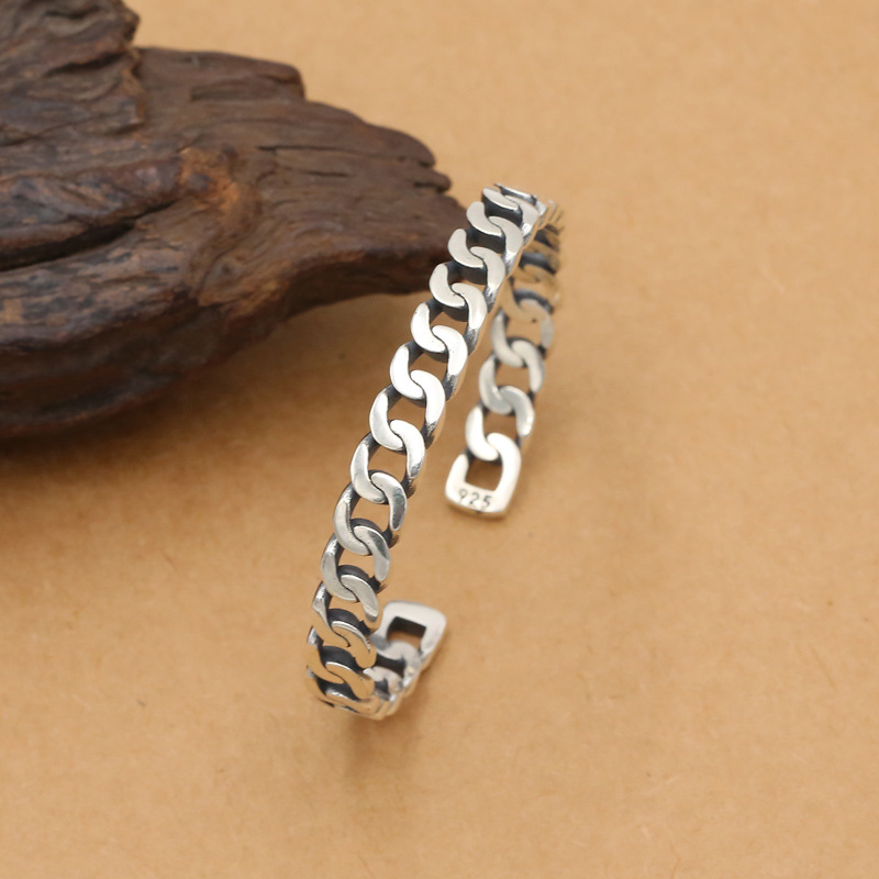 Wholesale S925 Sterling Silver Jewelry Simple Popular Men And Women Models Hollow Hollow Couple Open Ended
