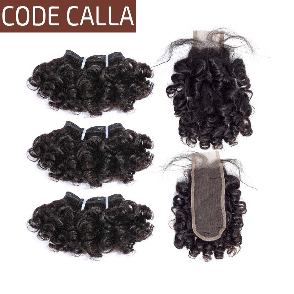 Code Calla Bouncy Curly Double Drawn Brazilian Remy Human Hair Weft Extensions 35 G 6 Bundles With Kim K Closure Can Make A Wig