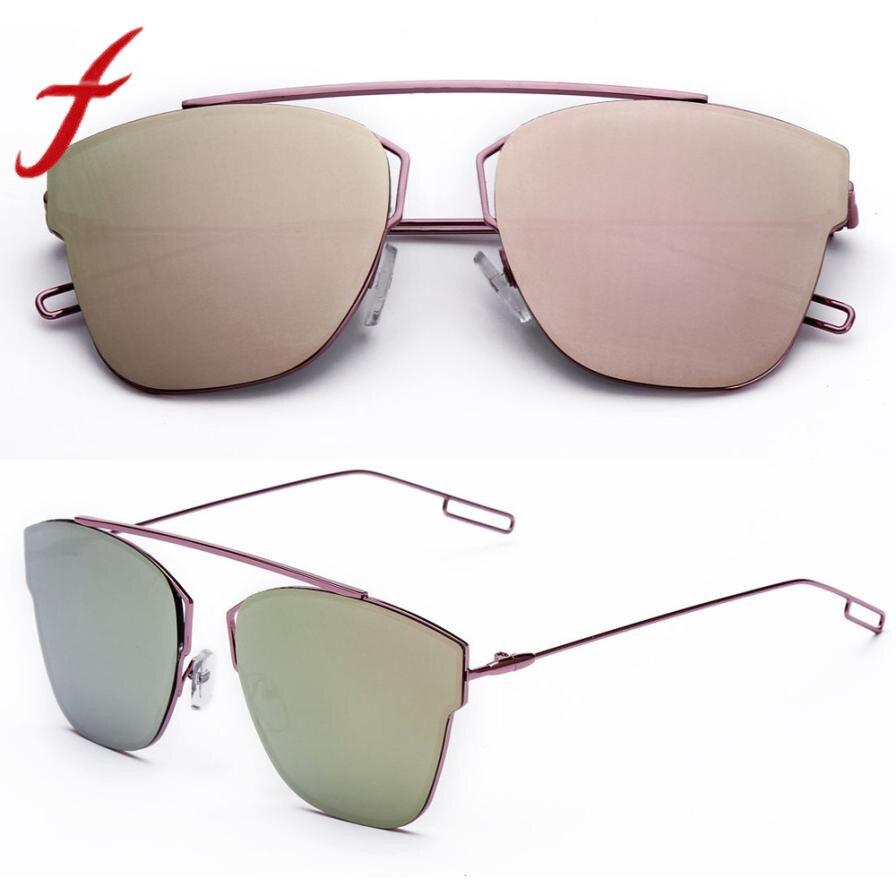 Feitong Mulheres de Design de Moda Óculos De Sol Do Metal Reflexão Moldura  de Espelho Da cb1a2c0381