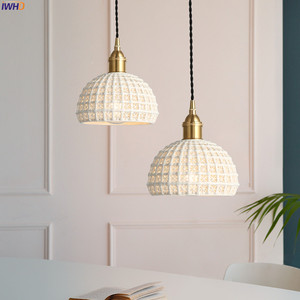 Image 4 - IWHD Nordic Japan Style Pendant Lights Fixtures Dinning Living Room Light White Ceramic Copper Vintage Pendant Lamp Hanglamp