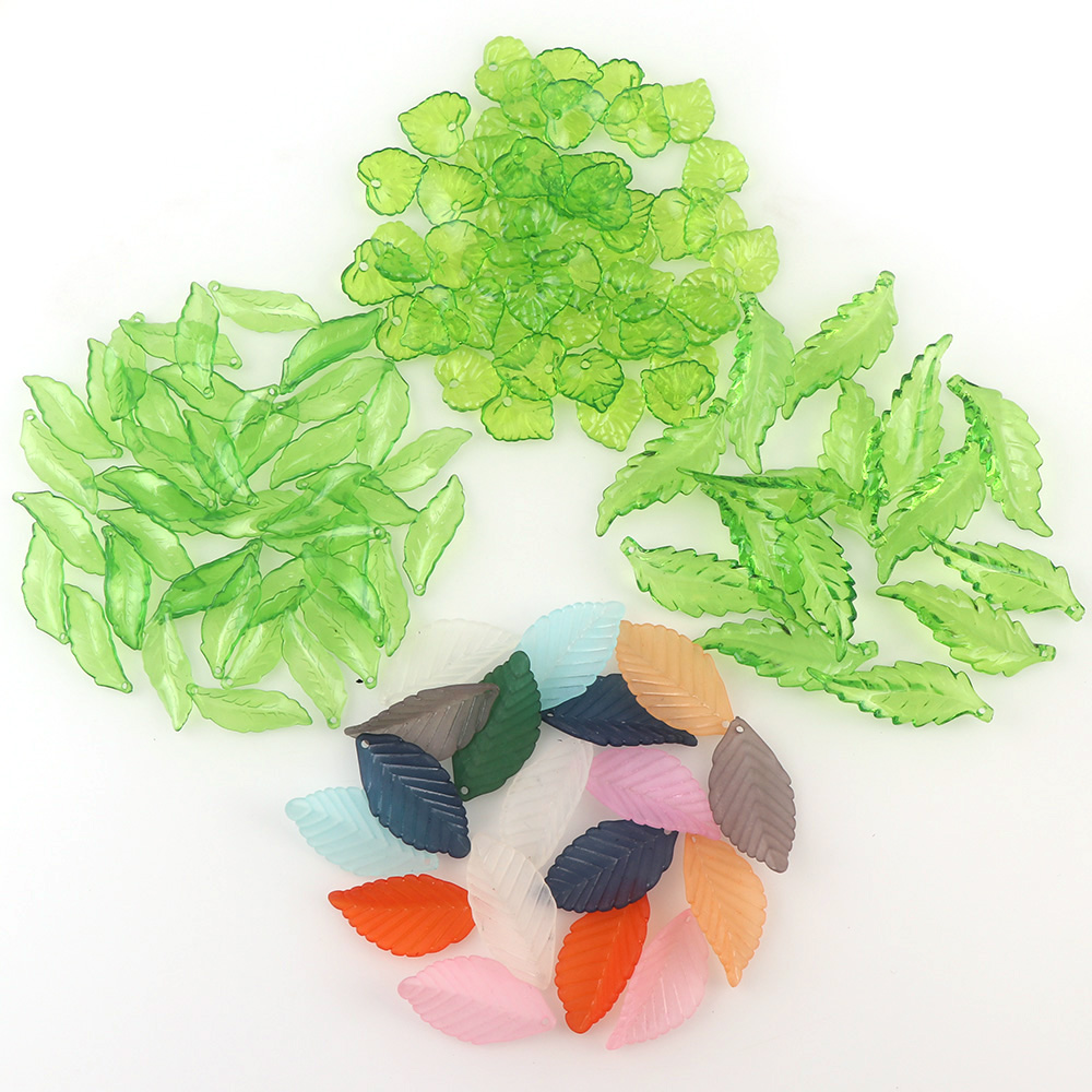 About 50g Acrylic With One Hole Green Leaf & Colorful Leaf Beads For DIY Jewelry