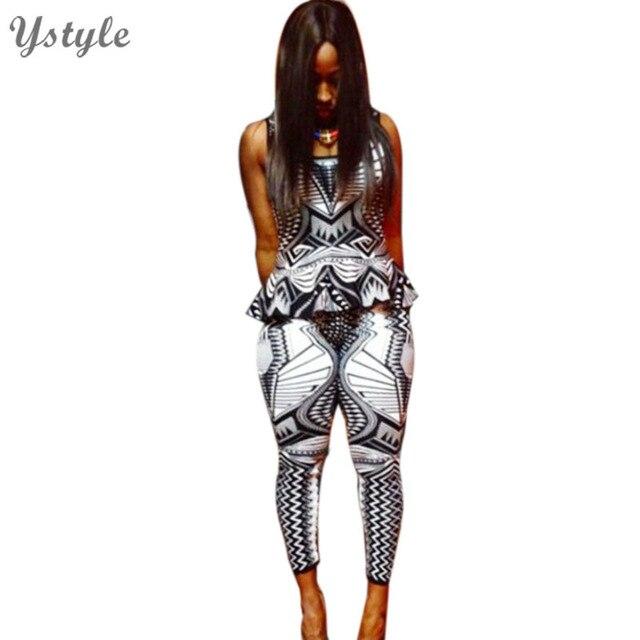 New Fashion 2016 Women Sexy 2 Piece Set Jumpsuit  Bodycon Geometric Print Ruffles Sleeveless Club Playsuits Slim Party Jumpsuits