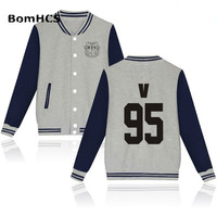 Fashion Bangtan Boys Women's Baseball Boyfriend Cotton Jacket Coat (gray navy)