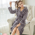 Promotion New Leopard Plush Robe Adult Women Hooded Pajamas Autumn Long Sleeve Sleepwear Bath Robes Dressing Gowns Bathrobe SMT